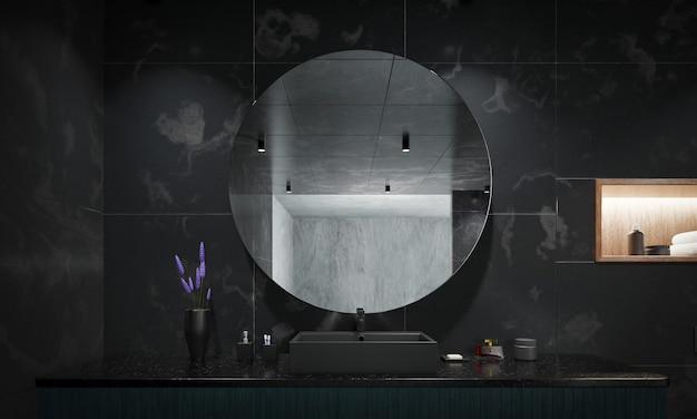 Design élégant noir de l'intérieur de la salle de bain moderne. rendu 3d