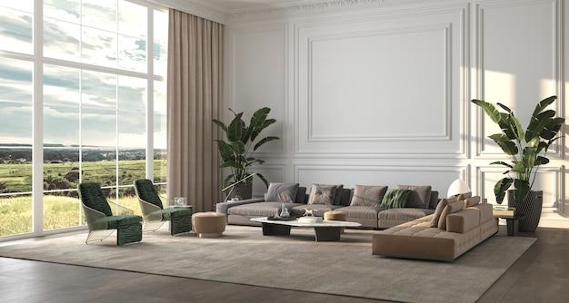 Design de fond d'intérieur de luxe moderne salon avec grande fenêtre illustration de rendu 3d