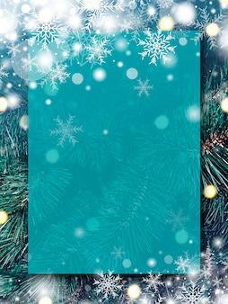 Design de fond de noël de panneau transparent vide avec neige et flocon de neige