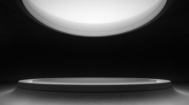 Design d'intérieur abstrait de salle d'exposition moderne avec sol gris vide et mur de béton incurvé noir