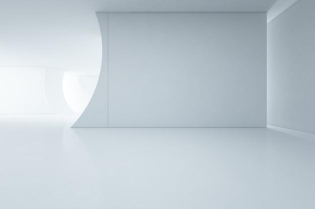 Design d'intérieur abstrait de showroom blanc moderne avec sol vide et mur de béton