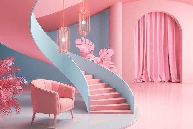 Design d'intérieur de chambre 3d avec motifs bleus