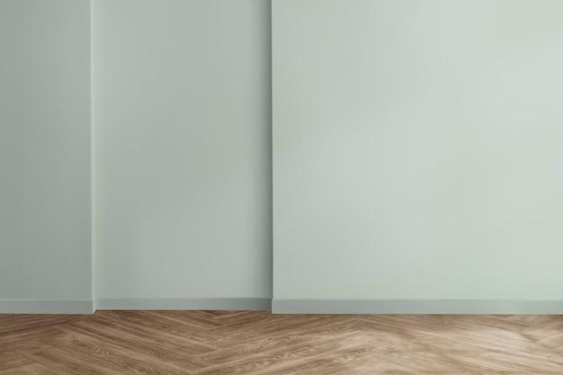 Design d'intérieur de chambre minimale vide avec mur vert menthe