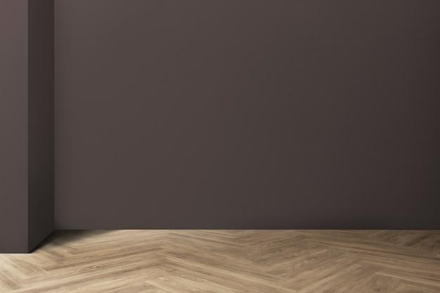 Design d'intérieur de chambre minimale vide avec sol en arête de poisson