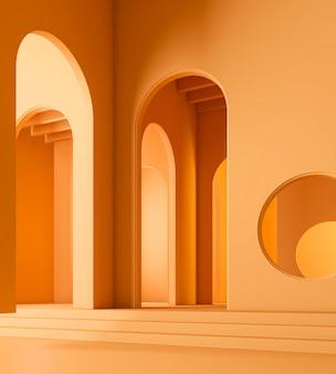 Design d'intérieur de chambre orange 3d