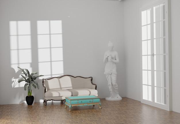 Design intérieur classique pour maquette murale. représentation en 3d
