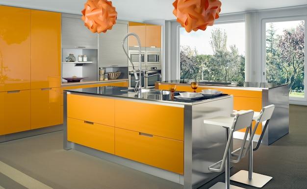 Design d'intérieur de cuisine blanche moderne