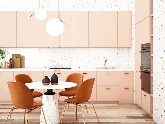 Design d'intérieur de cuisine dans un style modernerendu 3dillustration 3d