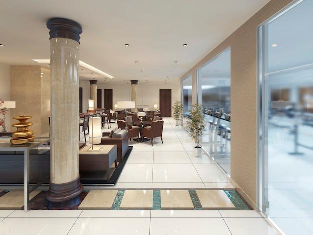 Le design intérieur du lobby avec un espace petit-déjeuner. rendu 3d