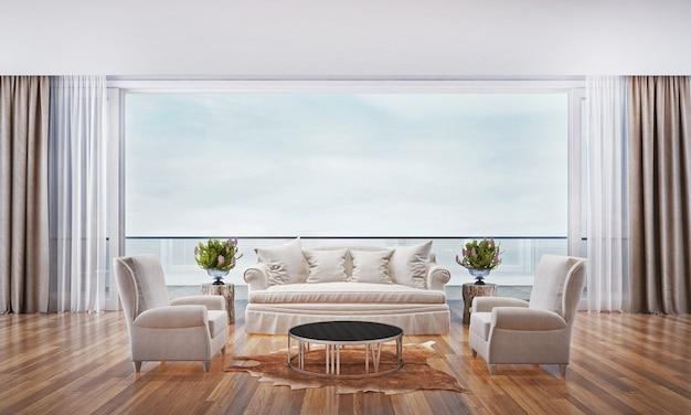 Le design d'intérieur du salon et du salon et le fond vue sur la mer