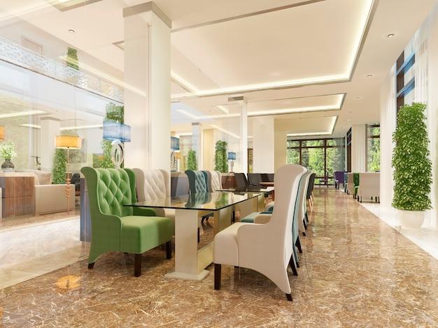 Le design intérieur de l'hôtel, la salle de petit-déjeuner et le bar à cocktails, de style moderne. rendu 3d.