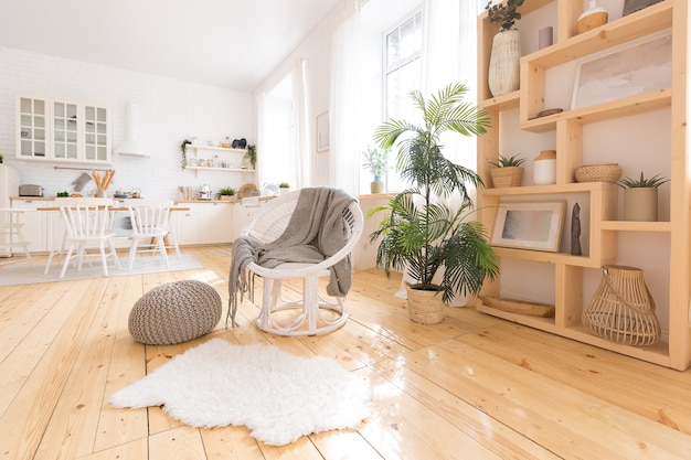 Design intérieur léger et confortable de l'appartement