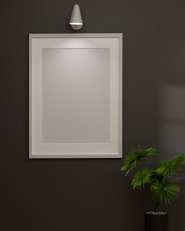 Design d'intérieur loft moderne avec cadre de maquette sur le mur et pot de plante dans le rendu 3d de la pièce