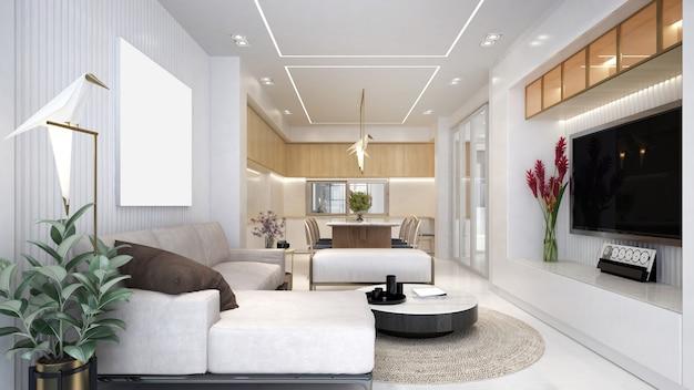 Design d'intérieur de luxe moderne de salon et salle à manger et console de télévision
