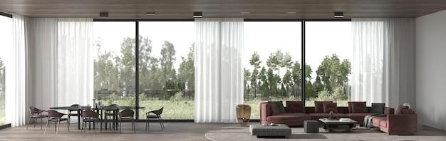 Design d'intérieur minimal salle à manger et salon illustration de rendu 3d.