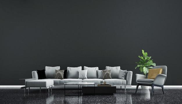 Design d'intérieur moderne et maquette de pièce de salon et texture de mur noir