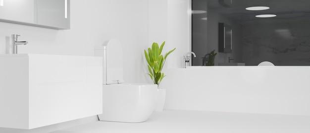 Design d'intérieur moderne et spacieux d'un hôtel blanc ou d'une salle de bain penthouse avec baignoire blanche