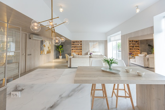 Design d'intérieur moderne et tendance d'un grand studio