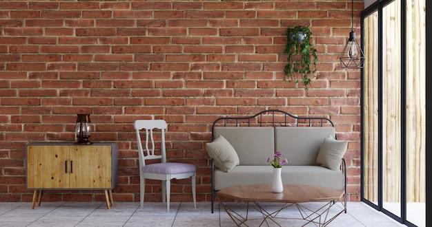 Design d'intérieur de mur de briques de salon