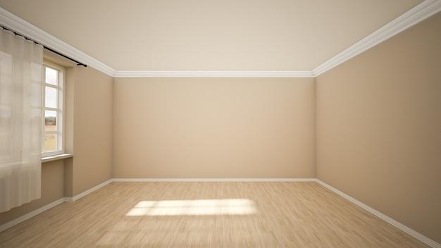 Le design intérieur de la pièce vide et du salon de style moderne avec fenêtre et parquet. rendu 3d