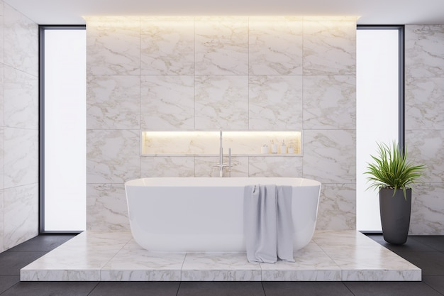 Design d'intérieur de salle de bain moderne, baignoire blanche avec carrelage en marbre.