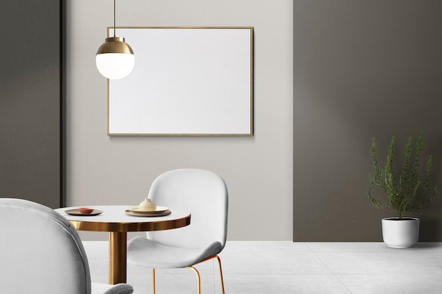Design d'intérieur de salle à manger authentique de luxe moderne avec un cadre photo vierge