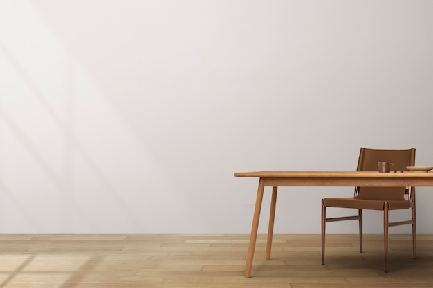 Design d'intérieur de salle à manger japandi avec table en bois