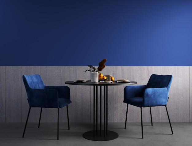 Design d'intérieur de salle à manger moderne, table noire et chaises bleues rendu 3d