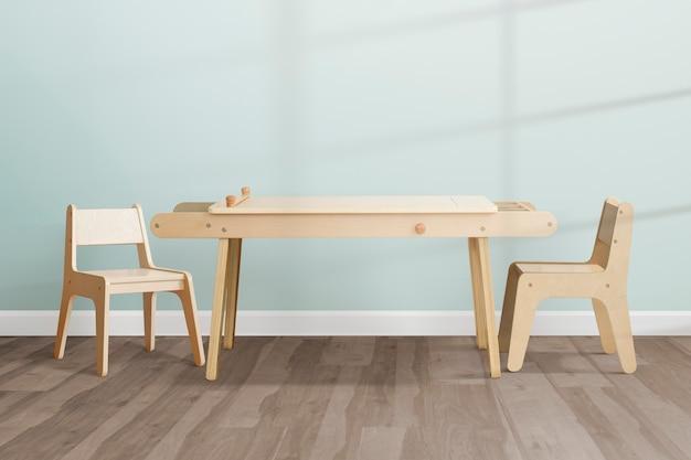 Design d'intérieur de salle à manger pour enfants dans une esthétique pastel moderne