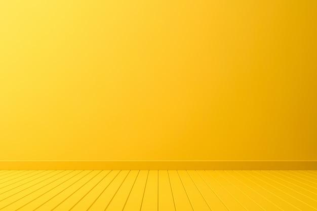 Design d'intérieur de salle vide ou affichage de piédestal jaune sur fond vif avec planche de perspective. rendu 3d.