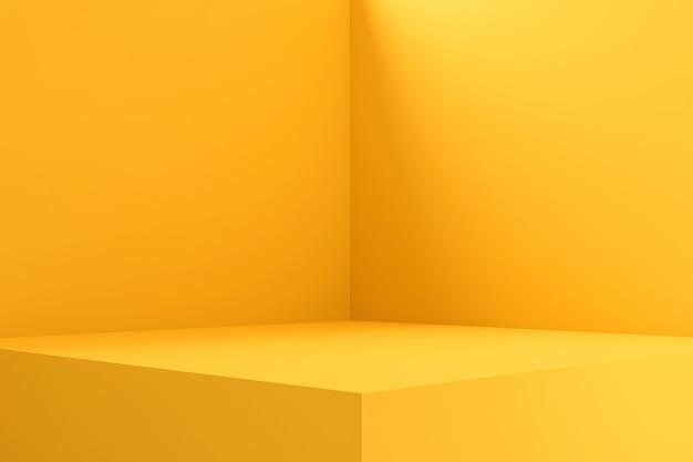 Design d'intérieur de salle vide ou affichage de piédestal jaune sur fond vif avec support vierge. rendu 3d.