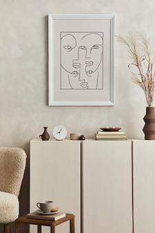 Design d'intérieur de salon élégant avec cadre d'affiche maquette, fauteuil moelleux, table basse, commode et accessoires personnels. style moderne. modèle.