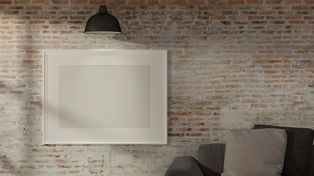 Design d'intérieur de salon avec lampe de canapé et maquette de cadre sur mur de briques