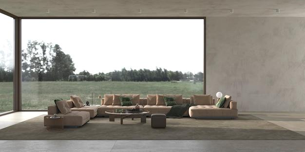 Design d'intérieur de salon lumineux moderne de luxe et vue sur la forêt nature illustration de rendu 3d