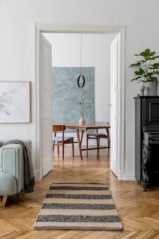 Design d'intérieur de salon avec maquette de cadre d'affiche meubles et accessoires de canapé modèle