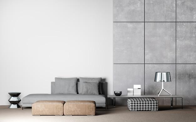 Design d'intérieur de salon à la mode en fond blanc et béton, rendu 3d