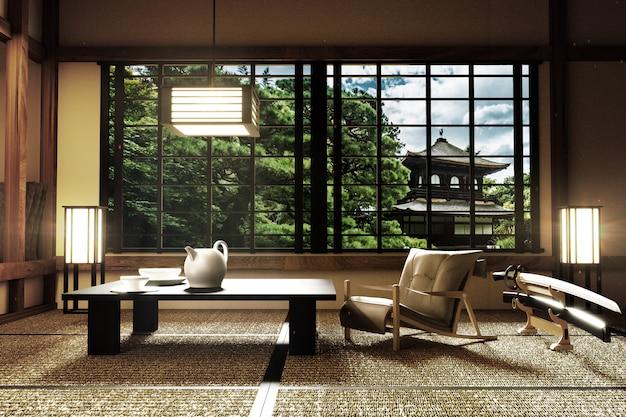 Design d'intérieur, salon moderne avec katana, lampe, sol en tatami, style japonais
