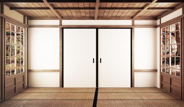 Design d'intérieur, salon moderne avec table sur un sol en tatami style japonais