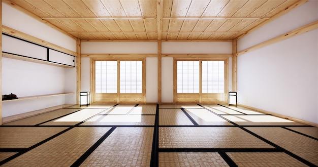 Design d'intérieur, salon moderne avec tatami et porte japonaise traditionnelle sur la meilleure vue de la fenêtre. rendu 3d