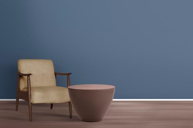 Design d'intérieur de salon rétro avec un fauteuil du milieu du siècle