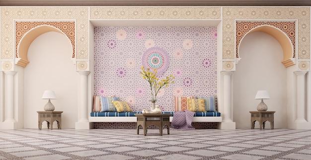 Design d'intérieur de salon de style islamique avec arc et motif arabe