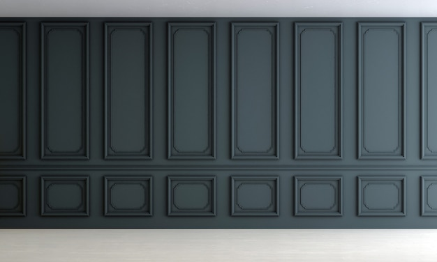Design d'intérieur de salon vide de luxe moderne et fond de mur bleu