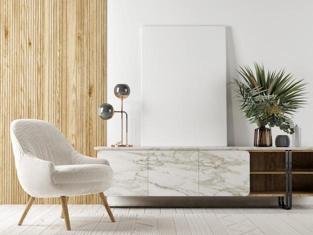 Le design d'intérieur scandinave du salon avec maquette affiche-cadre, meubles et décoration de la maison, rendu 3d, illustration 3d