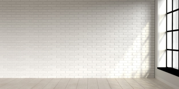 Design d'intérieur de scène de salon minimal avec mur de briques blanches rendu d