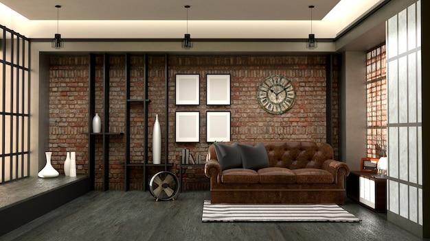 Design d'intérieur de style loft moderne. rendu 3d