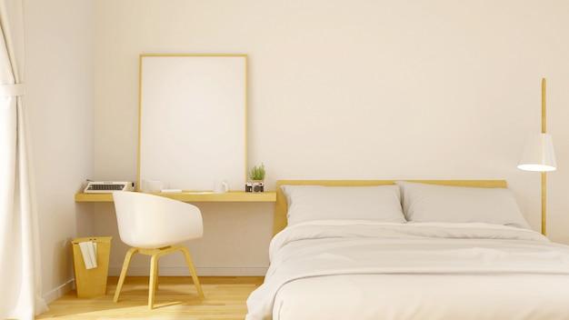 Design minimal de la chambre à coucher et image du cadre pour les œuvres d'art - rendu 3d