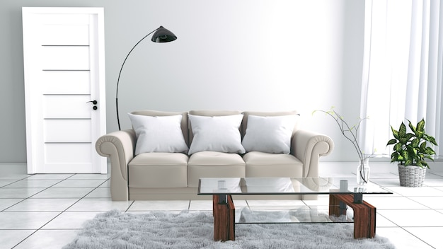 Design minimal sur fond de mur blanc vide. rendu 3d