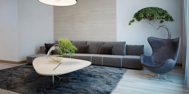 Design minimaliste du salon avec canapé en tissu et chaise oeuf et table basse.