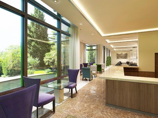 Le design moderne du bar à cocktails de l'hôtel avec de grandes fenêtres. chaises colorées avec une table en verre pour deux personnes. rendu 3d.