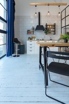 Design moderne de luxe d'un petit studio confortable de style scandinave